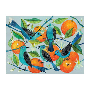 Illustrated artwork on the Avian Friends - Naranjas (Oranges) and Blue Birds 1000 piece Puzzle
