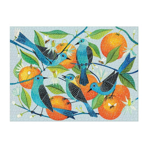 Avian Friends - Naranjas (Oranges) and Blue Birds 1000 piece Puzzle shown assembled