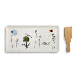 Nibbles Appetizer Tray with Spatula featuring illustration by artist Christine Anderson