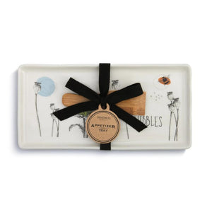 Nibbles Appetizer Tray with Spatula featuring illustration by artist Christine Anderson. The set is shown tied in a bow presented as giftable.