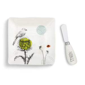 Nibbles Plate with Spreader Set featuring artwork by artist Christine Anderson