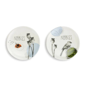 Nibbles Wine Glass Topper Appetizer Plates (Set of 2 Assorted) featuring artwork by artist Christine Anderson