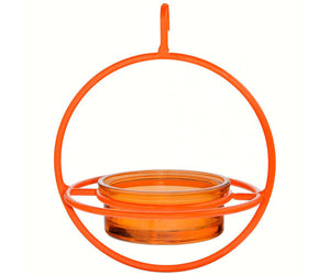 Orange Hanging Sphere Dish Feeder with Orange Glass Dish