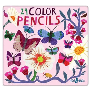 Butterflies and Flowers 24 Colored Pencils in Tin