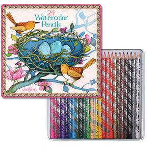 Bird's Nest 24 Watercolor Pencils Tin with all colored pencils shown