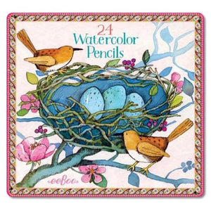 Bird's Nest 24 Watercolor Pencils Tin