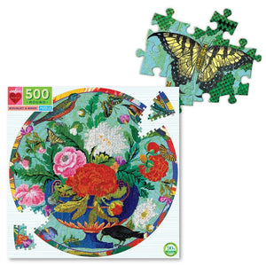 Bouquet & Birds 500 Piece Round Puzzle with zoomed in image of butterfly