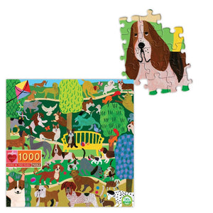 Dogs in the Park 1000 Piece Puzzle with pieces of dog shown assembled