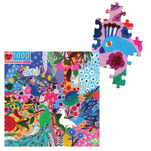 up close view of Peacock Garden 1000 Piece Puzzle