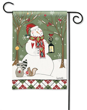 Party in the Woods Snowman Holiday Garden Flag