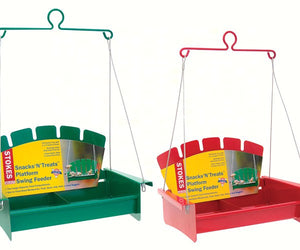 Snacks 'N' Treats Platform Swing Feeder which comes in either green or red