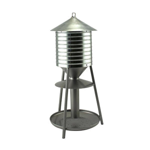 Rustic Farmhouse Galvanized Water Tower 2.5 lb. Seed Tray Feeder