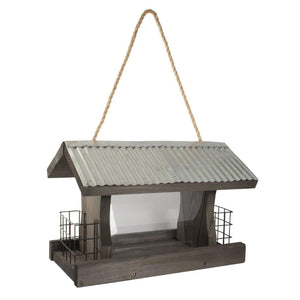 Rustic Farmhouse Ranch Feeder features corrugated galvanized metal roof and two attached Suet Cages