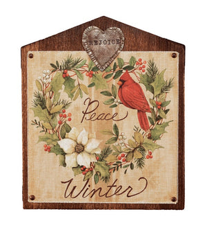 Winter 13 inch Bird Illustration Wall Art with Red Cardinal and White Poinsettia