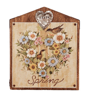 Spring Renew Bird Illustration Wall Art 13 inch