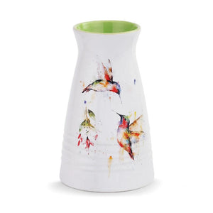 Summer Hummingbirds Vase featuring watercolor artwork by Dean Crouser