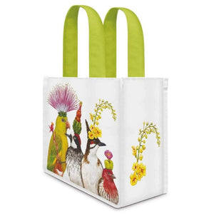 The Entourage Canvas Lunch / Gift Bag with green handles and illustrated western birds on the front by artist Vicki Sawyer