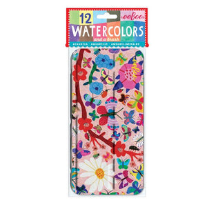 Butterflies and Flowers 12 Watercolors Tin shown in packaging