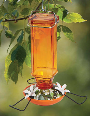Orange Vintage Glass Oriole Feeder 16 oz