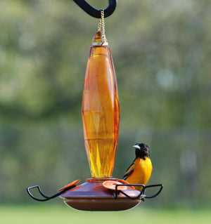 Beautifully sleek and artful cut glass nectar oriole feeder