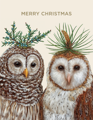 Winter Owls Gold Foil Boxed Set - 6 Cards