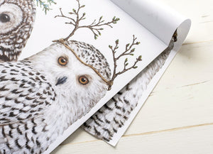 "Tablet of 24 Winter Owls Paper Placemats 18.5"" X 12.5"""