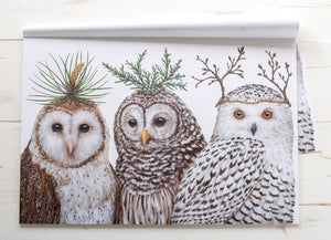 "Winter Owls Paper Placemats 18.5"" X 12.5"""