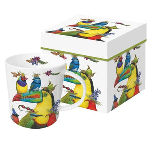 World Traveler Gift-Boxed Mug with colorful tropical birds of paradise