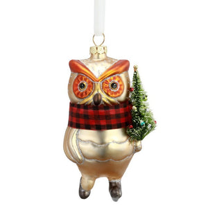 Blown Glass Skating Owl Ornament
