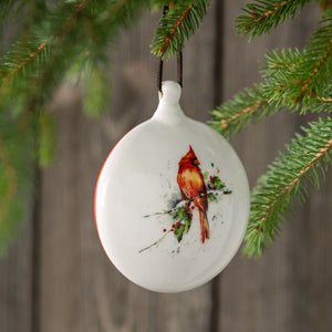 Dean Crouser Cardinal and Holly Ornament Hanging in tree