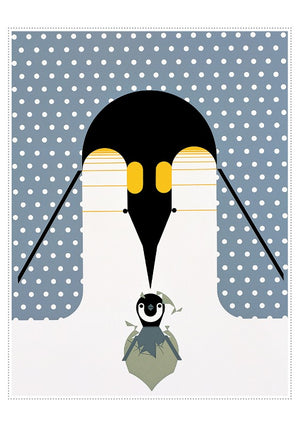 Sample penguin card from Charley Harper Holiday Card Assortment