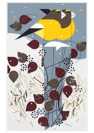 Sample grosbeaks card from Charley Harper Holiday Card Assortment