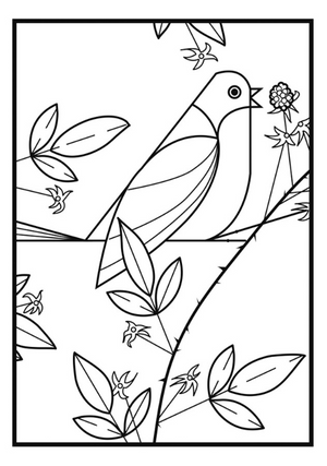 Painted Bunting design included in Set of the Birds: Charley Harper Coloring Cards includes 6 colored pencils
