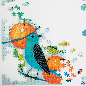 Avian Friends - Naranjas (Oranges) and Blue Birds 1000 piece Puzzle shown partially assembled