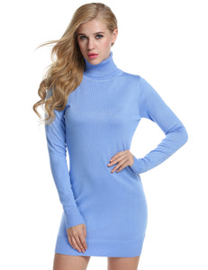 ACEVOG Women Fashion Casual Slim Turtleneck Long Sleeve Solid Pullover Sweater