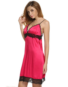 Ekouaer Women Lady Lace Trim Slip Chemise Nightgown Sleepwear Night Dress