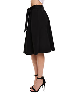 Zeagoo A-Line Bow-tie Pleated Skirt