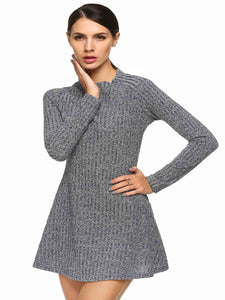 ANGVNS Women Long Sleeve Slim Knit Mini Dress