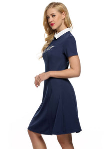 ACEVOG  Women RetroDoll Collar Embroidery  A-Line Shift Dress