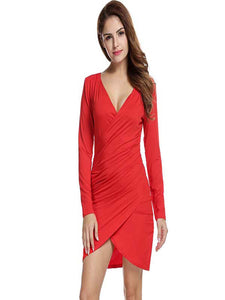 ANGVNS Women Long Sleeve Deep V-neck Pencil Dress