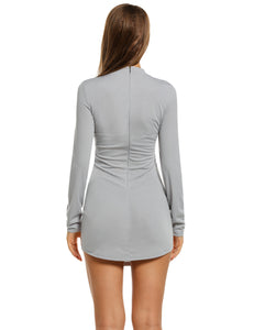 Meaneor Women Sexy O-Neck Long Sleeve Solid Package Hip Short Skinny Dress