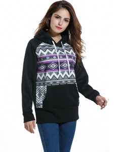 Zeagoo Women Geometric Print Fleece Pullover Hoodie Sweatshirt with Pockets