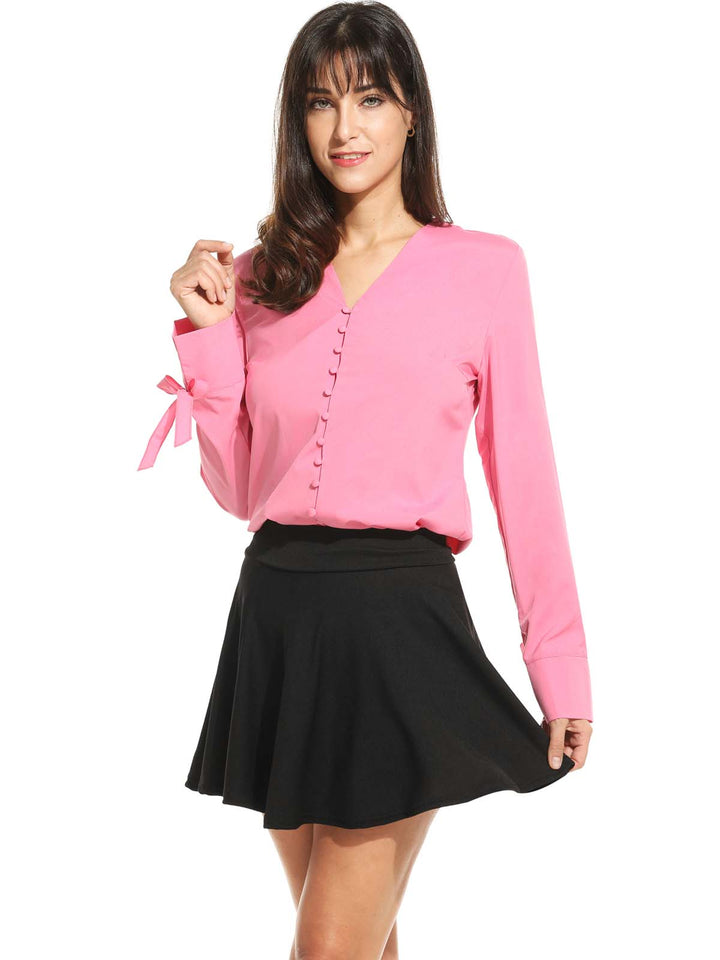 Womens  Long Sleeve V Neck Solid Slim Button Down Shirt