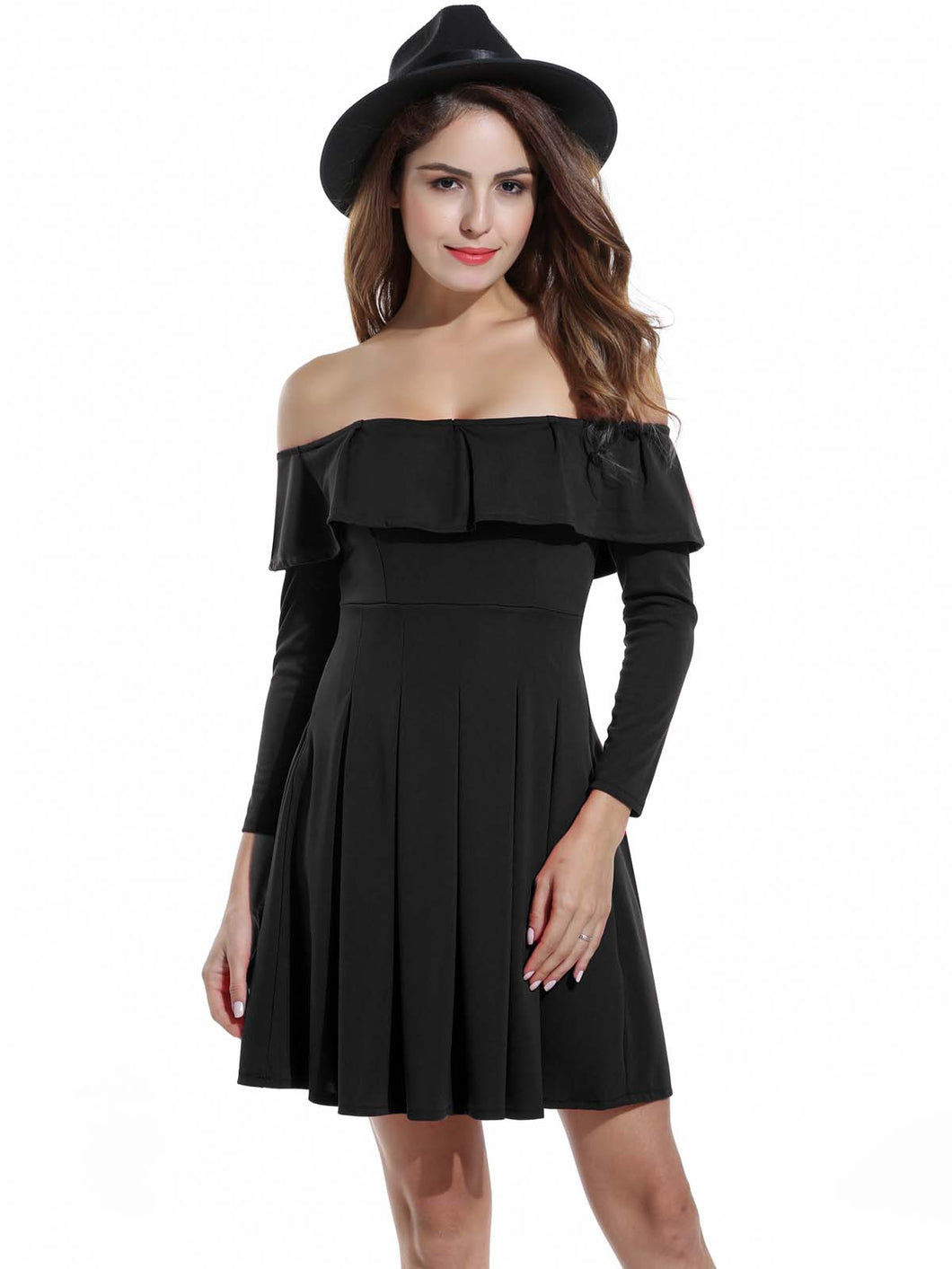 Zeagoo Women Off Shoulder Ruffles Long Sleeve Cocktail Party Pleated Dress Black