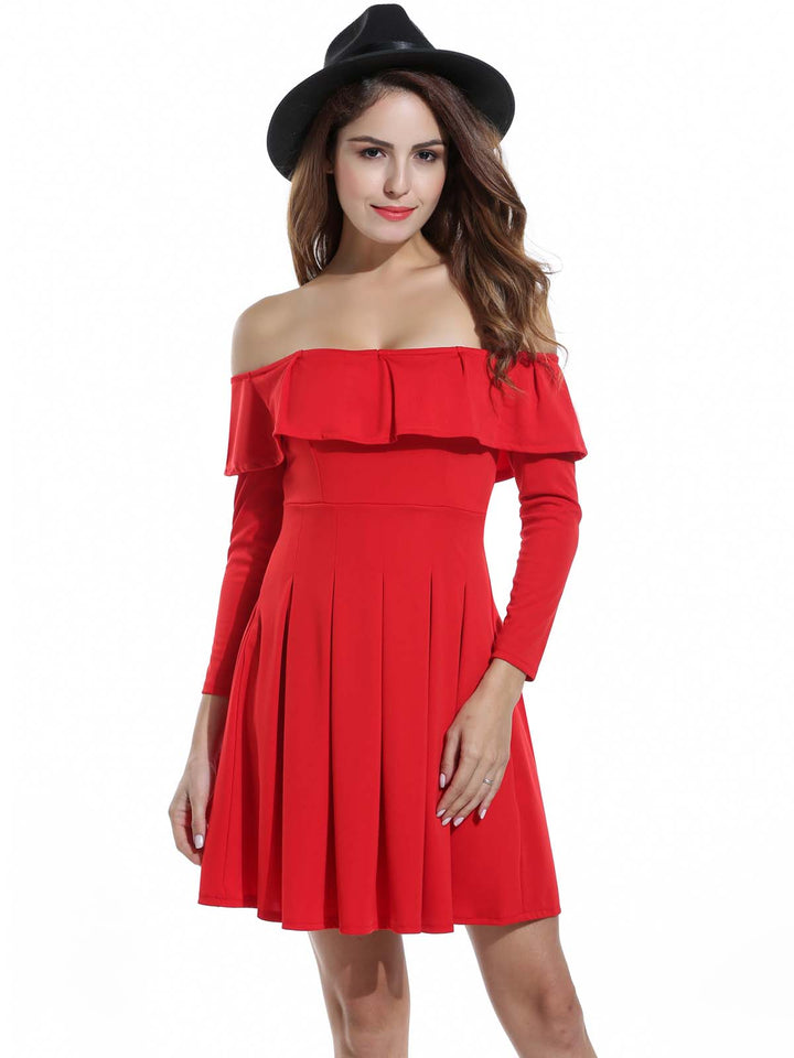 Zeagoo Women Off Shoulder Ruffles Long Sleeve Cocktail Party Pleated Dress
