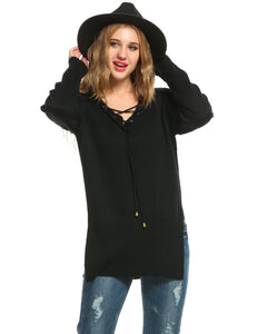 Zeagoo Women V-Neck Slit Side Solid Pullover Sweater