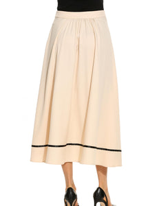 Women High Waist Solid Bow Flare Hem A-Line Skirt