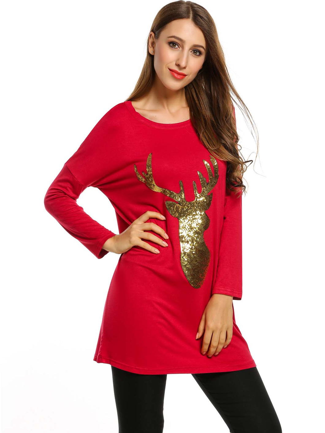 Zeagoo Women Long Sleeve Sequined Christmas Print Tops