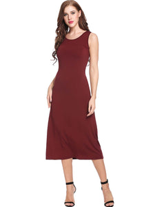 ANGVNS Women Sleeveless  A-Line Pleated Hem Tank Maxi Dress