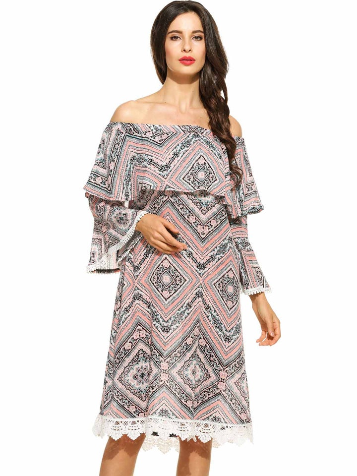 Zeagoo WomenOff Shoulder 3/4 Flare Sleeve Ruffle Crochet Lace-Trimmed Print Dress